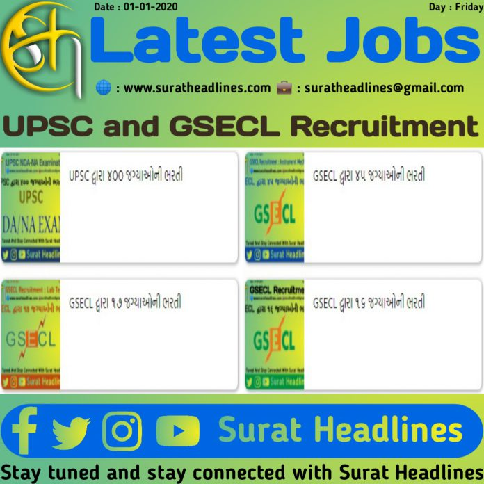 Latest Jobs-UPSC and GSECL-suratheadlines
